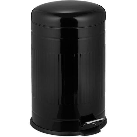 Poubelle à pédale 20 L inox seau intérieur anse couvercle salle de bain cuisine déchets, noir