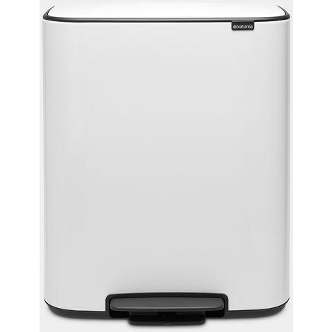 poubelle à pédale 2x30l blanc - 211447 - brabantia