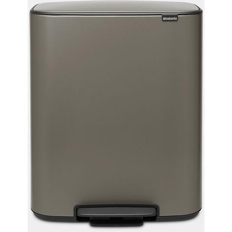 poubelle à pédale 2x30l platinum - 211546 - brabantia
