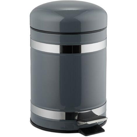 Poubelle à pédale 3 L inox seau intérieur anse couvercle salle de bain déchets, gris