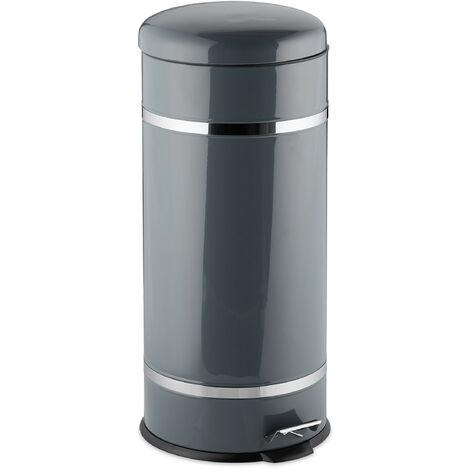 Poubelle à pédale 30 L inox seau intérieur anse couvercle salle de bain cuisine déchets, gris