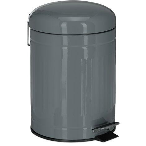 Poubelle à pédale 5 L inox seau intérieur anse couvercle salle de bain déchets, gris