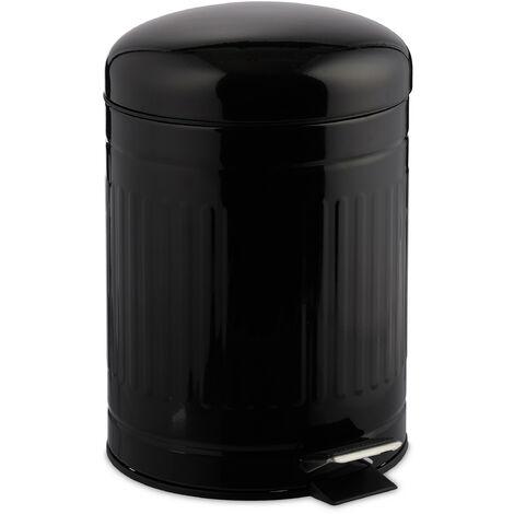 Poubelle à pédale 5 L inox seau intérieur anse couvercle salle de bain déchets, noir