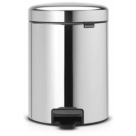 poubelle à pédale 5l brillant steel - 113444 - brabantia
