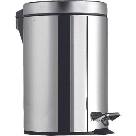 Poubelle à pédale acier inoxydable ronde chromé 3 litres 16,8 x 20 x 26 cm fermeture douce et silencieuse grâce à la fermeture automatique Soft-close seau intérieur en plastique amovible poignée extérieure / Couleur: Chromé / Référence: 639710