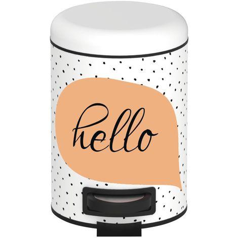 Poubelle à pédale Hello - 3 L - Blanc et orange