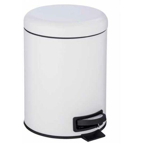 Poubelle à pédale Leman, 5L, petite poubelle salle de bain, acier blanc