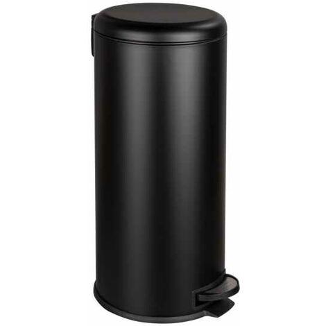 """Poubelle à pédale Leman, fermeture douce système """"easy close"""", poubelle 30L, Acier Inox noir"""