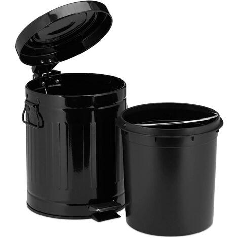 Poubelle à pédale rétro cuisine salle de bain bureau 5 litres noir - Noir