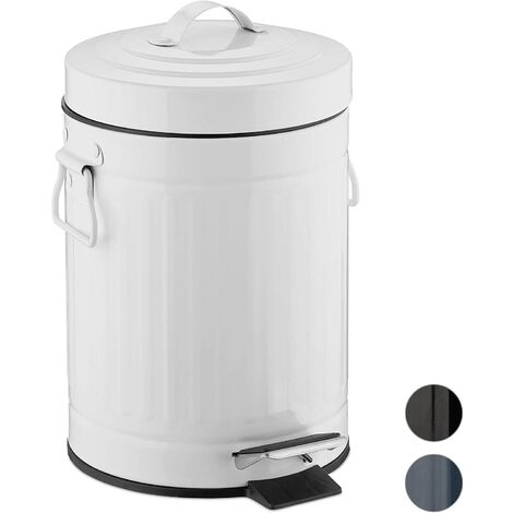 Poubelle à pédale rétro salle de bain cuisine seau intérieur 3 litres blanc - Blanc