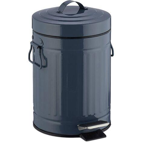 Poubelle à pédale rétro salle de bain cuisine seau intérieur 3 litres gris - Gris