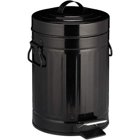 Poubelle à pédale rétro salle de bain cuisine seau intérieur 3 litres noir - Noir