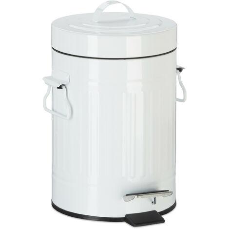 Poubelle à pédale vintage, Poubelle à déchets pour la cuisine ou la salle de bain, en métal, Blanc, 3 litres
