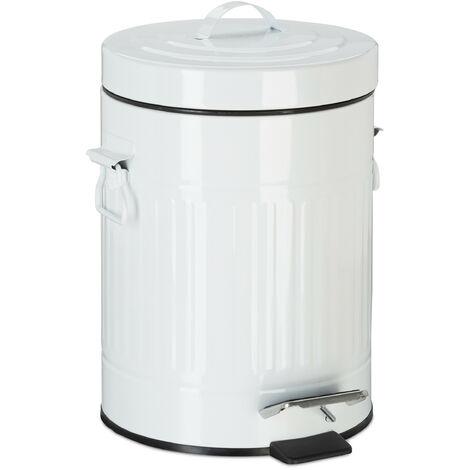 Poubelle à pédale vintage, Poubelle à déchets pour la cuisine ou la salle de bain, en métal, Blanc, 5 litres