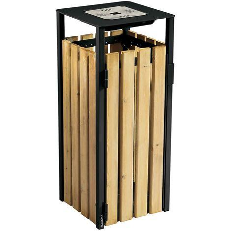 Poubelle à poser ou à fixer 110 l - avec cendrier 1,5 l - Bois / Acier gris manganèse - KOPA | Rossignol