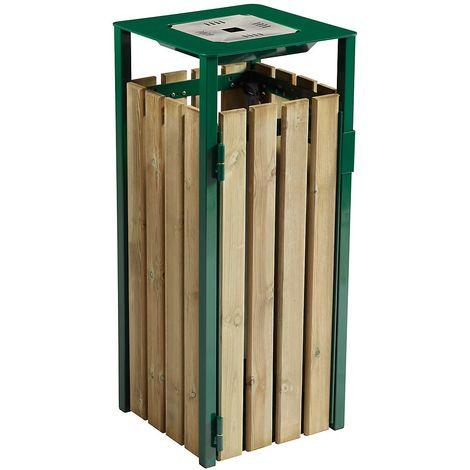 Poubelle à poser ou à fixer 110 l - avec cendrier 1,5 l - Bois / Acier vert mousse - KOPA | Rossignol