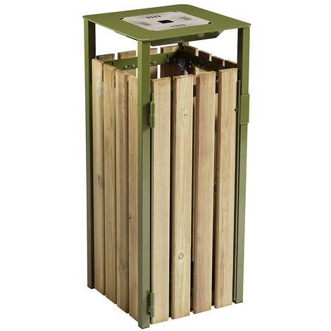 Poubelle à poser ou à fixer 110 l - avec cendrier 1,5 l - Bois / Acier vert olive - EDEN | Rossignol