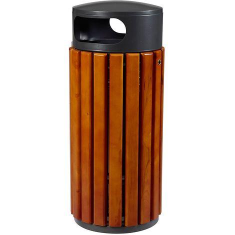 Poubelle à poser ou à fixer - 60 l - Gris manganèse / Bois - ZENO | Rossignol - Gris foncé