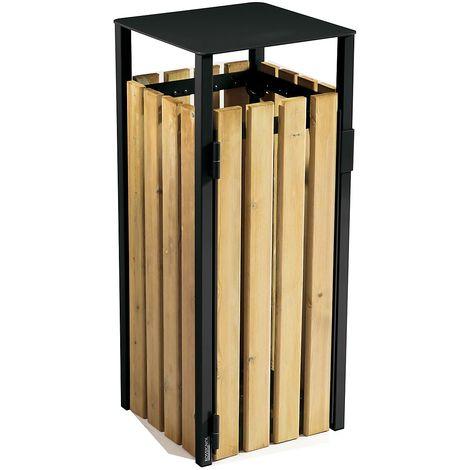 Poubelle à poser ou à fixer - sans cendrier - 110 l - Bois / Acier Gris manganèse - COLLECMUR | Rossignol