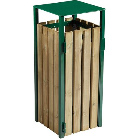 Poubelle à poser ou à fixer - sans cendrier - 110 l - Bois / Acier vert mousse - COLLECMUR | Rossignol - Vert mousse RAL 6005