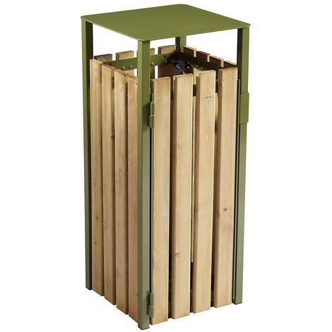 Poubelle à poser ou à fixer - sans cendrier - 110 l - Bois / Acier vert olive - EDEN | Rossignol