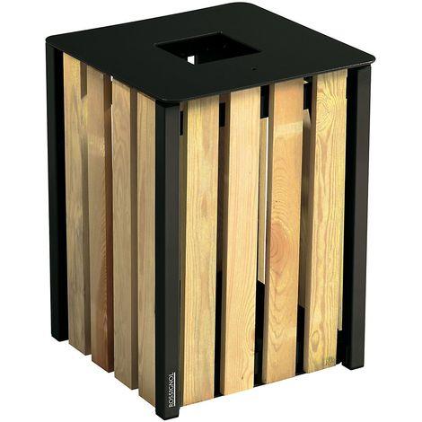 Poubelle à poser ou à fixer - sans cendrier - 50 l - Bois / Acier Gris manganèse - EDEN | Rossignol