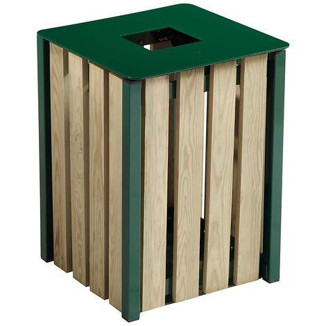 Poubelle à poser ou à fixer - sans cendrier - 50 l - Bois / Acier Vert mousse - TULIPE | Rossignol