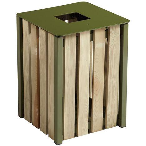 Poubelle à poser ou à fixer - sans cendrier - 50 l - Bois / Acier Vert olive - TULIPE | Rossignol - Vert olive