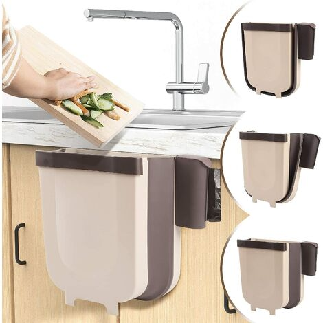 Poubelle à suspendre pour cuisine ou salle de bain avec porte-sac poubelle pour cuisine, cabinet et porte – 9 l