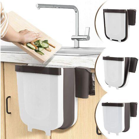 Poubelle à suspendre pour cuisine ou salle de bain avec porte-sac poubelle pour cuisine, cabinet et porte – 9 l Blanc.