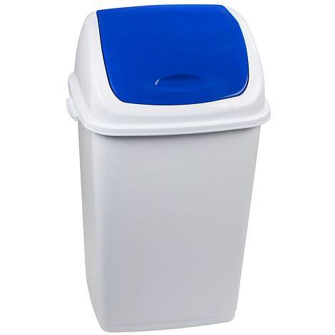 Poubelle à trappe basculante | polypropylène | Blanc-Bleu | 50 litres | 440x330x680 | Rif Basic | 6 pièces | medial - Bleu | Blanc