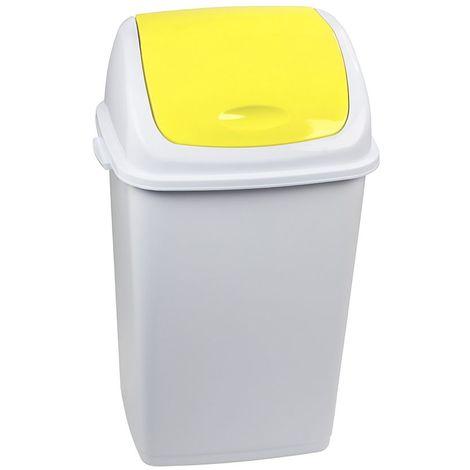 Poubelle à trappe basculante | polypropylène | Blanc-Jaune | 50 litres | 440x330x680 | Rif Basic | 6 pièces | medial - jaune | blanc