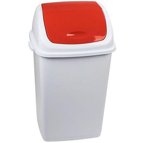 Poubelle à trappe basculante | polypropylène | Blanc-rouge | 50 litres | 440x330x680 | Rif Basic | 6 pièces | medial - Rouge, blanc