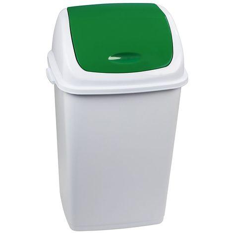 Poubelle à trappe basculante | polypropylène | Blanc-verdoyant | 50 litres | 440x330x680 | Rif Basic | 6 pièces | - vert | blanc