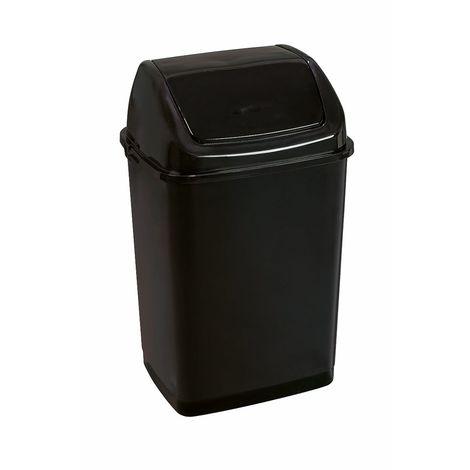 Poubelle à trappe basculante | polypropylène | Noir | 35 litres | 360x290x550 | Rif Basic | 12 pièces | medial