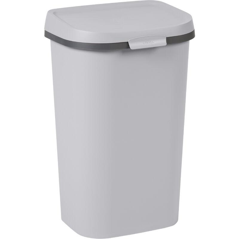 Poubelle Mistral Flat 50L PVC recyclé Gris Clair - Curver