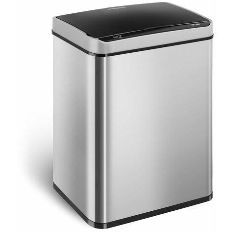 Poubelle automatique 50 litres carrée acier inoxydable