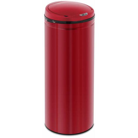 Poubelle automatique 50 litres coloris rouge avec récipient intérieur acier au carbone - Or