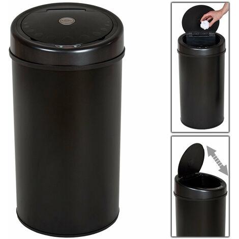 Poubelle automatique 50 litres noir pratique cuisine salle de bain - Noir