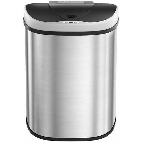 Poubelle Automatique, Capteur de Mouvement, 2 x 35L de Poubelle de Recyclage, Double Compartiment, sans Contact, Cuisine, Argent métallisé LTB93NL