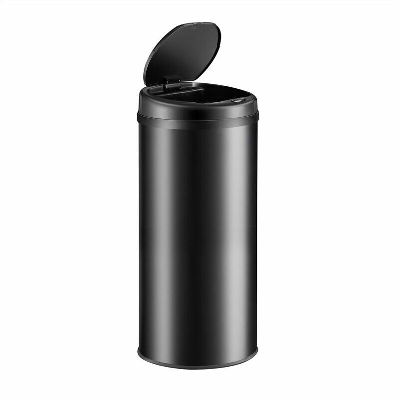 Poubelle de cuisine automatique ronde 30/40/56 litres avec support de sac Capteur de mouvement Recyclage déchets maison Noir - 30L