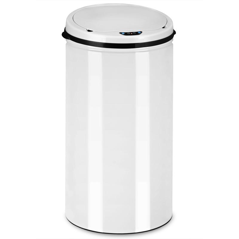 Poubelle Automatique Blanc Capteur De Mouvements 30 Litres Acier