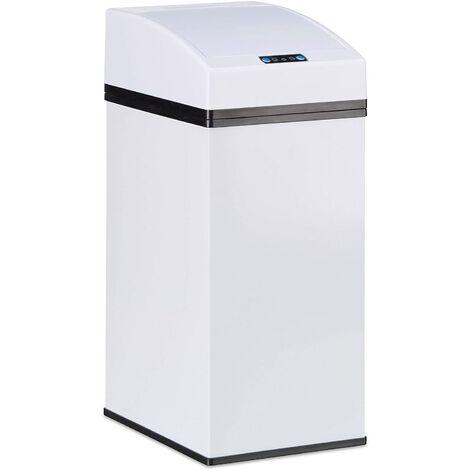 Poubelle automatique design capteur couvercle seau intérieur 7 litres blanc - Blanc