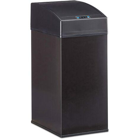 Poubelle automatique design capteur couvercle seau intérieur 7 litres noir - Noir