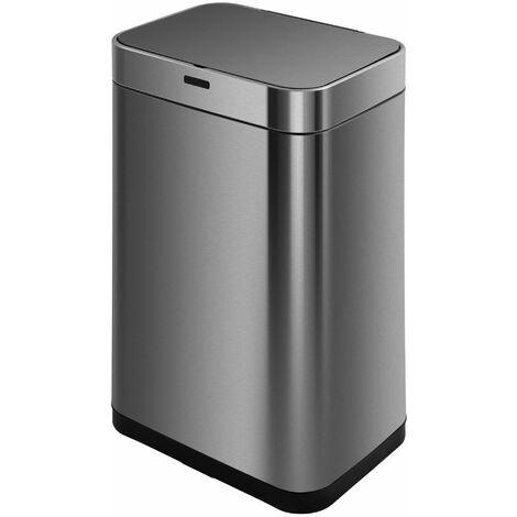 Poubelle automatique UPPER gris en inox 60L