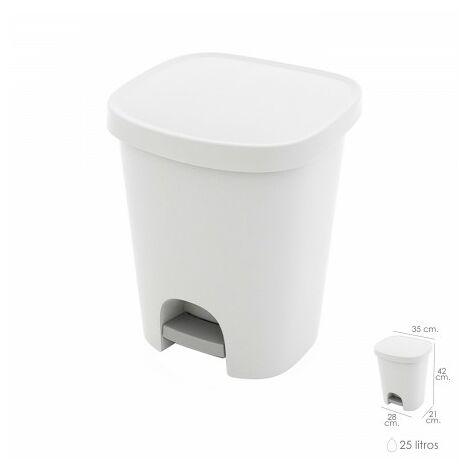 Poubelle avec pédale 25 litres plastique blanc