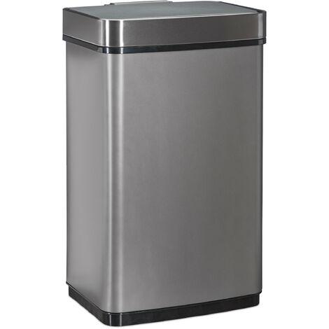 Poubelle avec senseur 60l, pour déchets, de cuisine, acier inoxydable, senseur de mouvements, batterie, grise