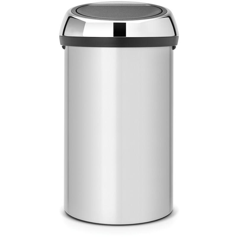 Poubelle 'Touch Bin' metallic grey 60 L - Brabantia