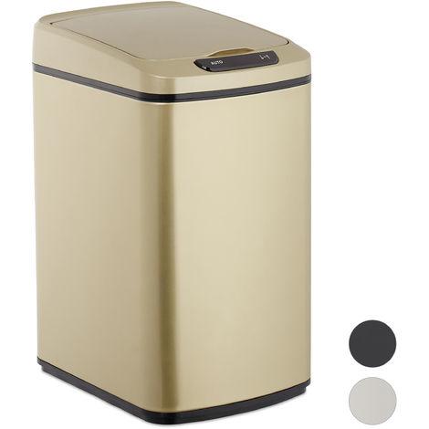 Poubelle capteur 12 l, Automatique, récipient carré, senseur déchets couvercle et boîte intérieure, rose dorée