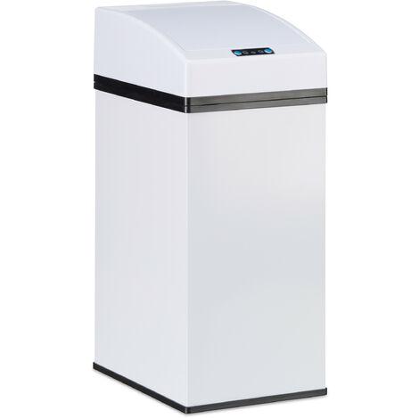 Poubelle capteur, couvercle automatique, seau intérieur avec poignée, hygiénique, acier, HLP 35 x 15 x 20 cm, blanc